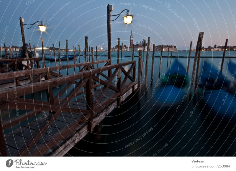 venice gondola II Town Old town Discover To swing Blue Italy Venice Jetty Gondolier Gondola (Boat) Port City Colour photo Exterior shot Experimental Evening
