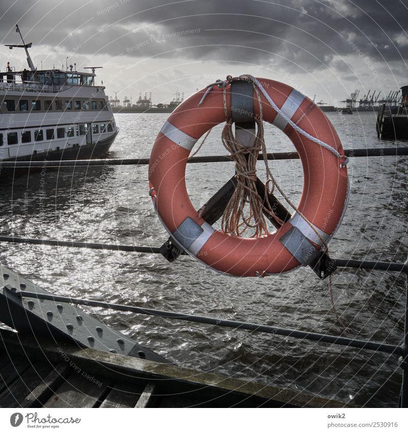 panorama Water Sky Clouds Elbe Hamburg Port of Hamburg Port City Tourist Attraction Landmark Transport Navigation Passenger ship Harbour Life belt