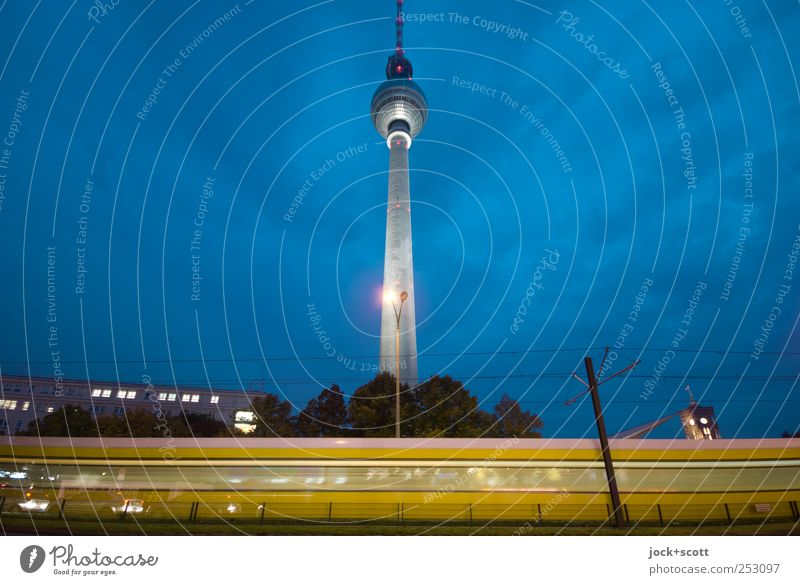 Way to the destination (blue hour) Night sky Downtown Berlin Capital city Tourist Attraction Berlin TV Tower Transport Traffic infrastructure Public transit