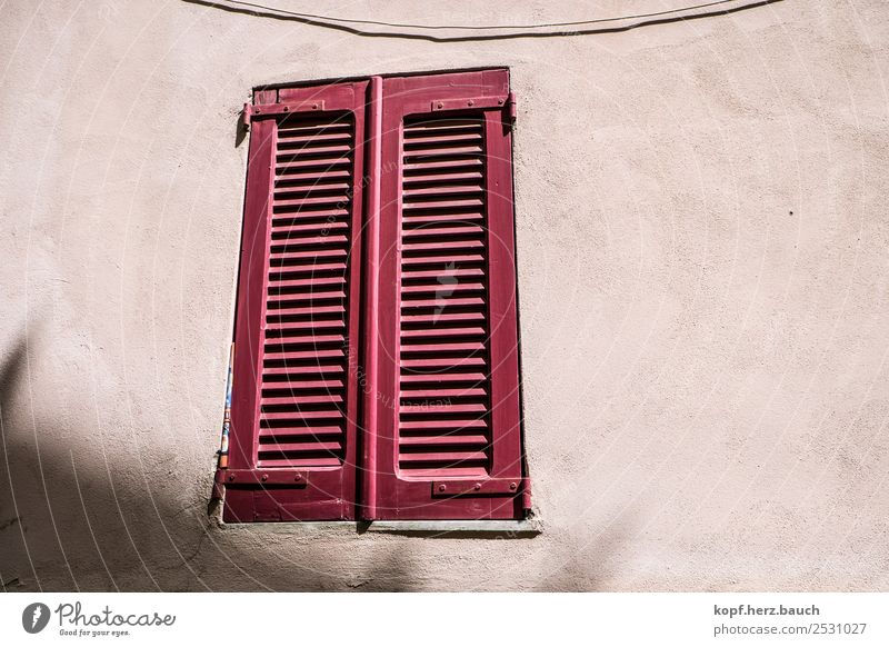Close the flap Old town House (Residential Structure) Wall (barrier) Wall (building) Facade Window Wait Living or residing Esthetic Curiosity Red Safety
