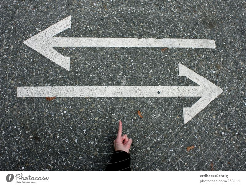 contradictory information Hand Crossroads Lanes & trails Road sign direction arrow Signage Lane markings Asphalt Attentive Target Future Indicate Trend-setting
