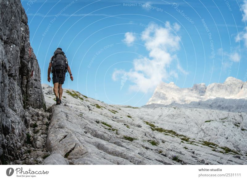 Vacation & Travel Man Summer Mountain Adults Sports Tourism Freedom Trip Rock Hiking Adventure Fitness Footpath Alps Summer vacation