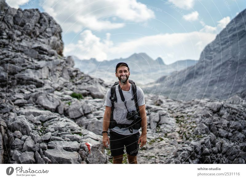 Friendly hikers Vacation & Travel Tourism Trip Adventure Summer Summer vacation Mountain Hiking Man Adults 1 Human being 18 - 30 years Youth (Young adults) Peak