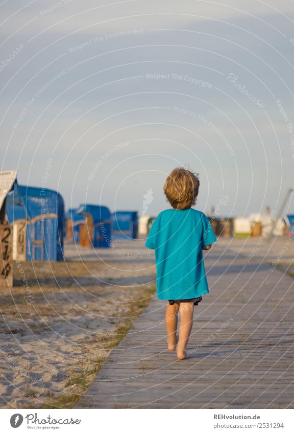 Child walking on the beach Lifestyle Leisure and hobbies Vacation & Travel Adventure Summer Summer vacation Ocean Human being Masculine Boy (child) 1