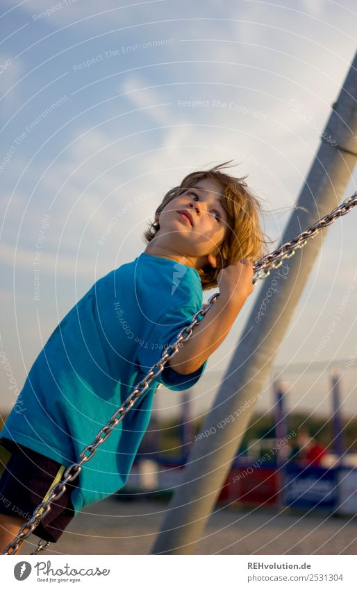 Boy swings in summer Child Boy (child) Summer Infancy vacation Beach Happy Joy fun Playing To swing Playground swinging is like flying Swing Exterior shot Day
