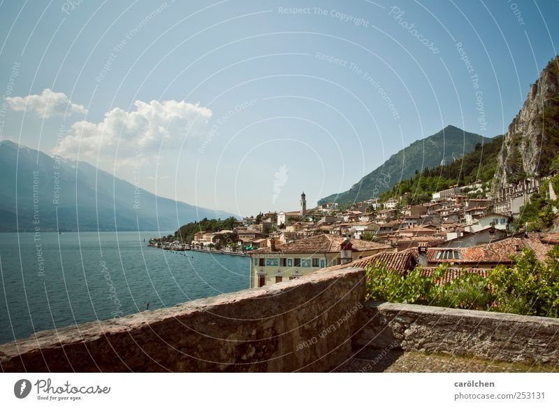Lake Garda Village Small Town Deserted Wall (barrier) Wall (building) Blue Limone Mountain Slope Colour photo Multicoloured Exterior shot Day Wide angle