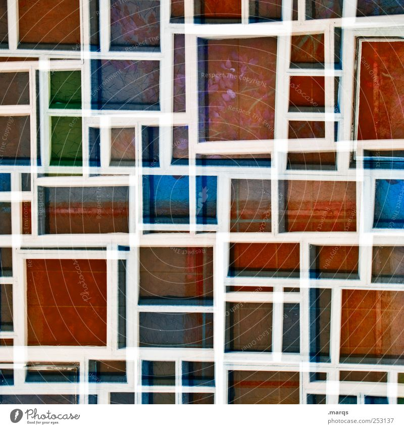 quad Lifestyle Style Design Window Glass Line Stripe Exceptional Uniqueness Crazy Blue Green Red White Colour Surrealism Mosaic Labyrinth Grid Double exposure