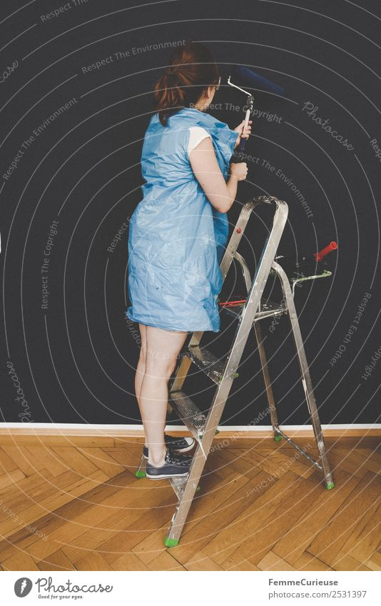Woman Human being Blue Colour Adults Wall (building) Feminine Leisure and hobbies Creativity Painting (action, work) Make Ladder Painter Redecorate Old building