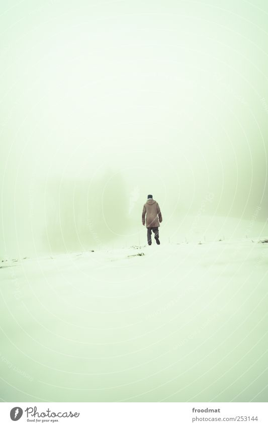 Human being Man Winter Calm Adults Loneliness Cold Snow Environment Mountain Lanes & trails Dream Air Fear Fog Hiking