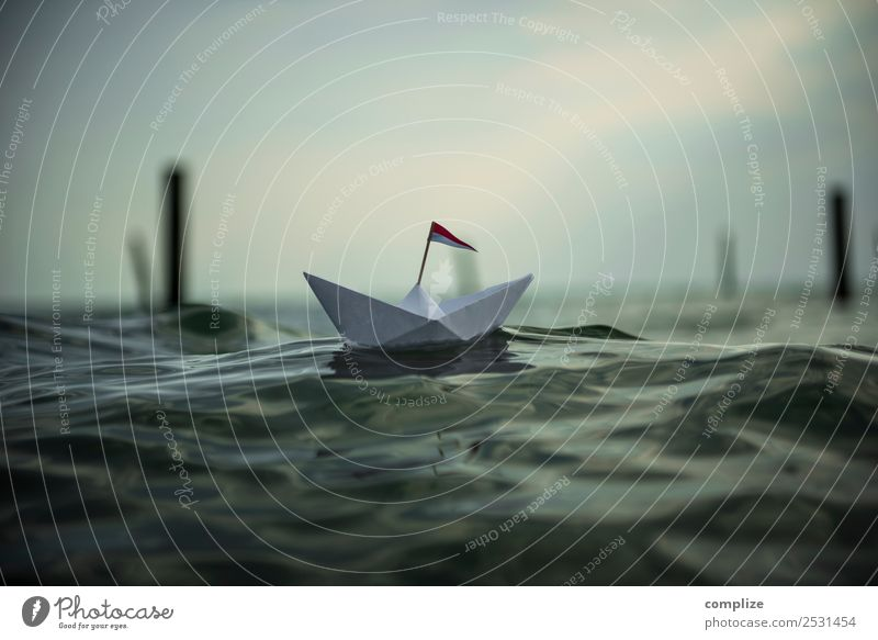 small paper ship on the sea Joy Healthy Wellness Vacation & Travel Tourism Adventure Far-off places Freedom Summer vacation Beach Ocean Waves Swimming & Bathing