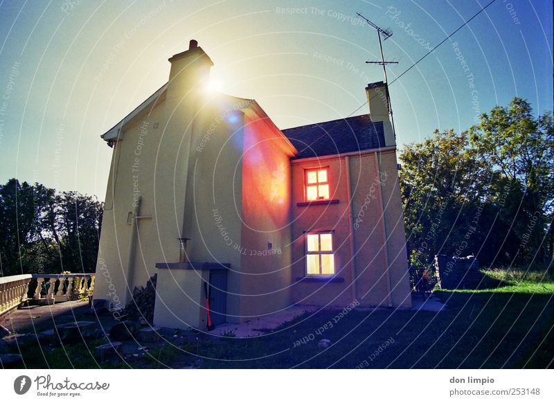 House (Residential Structure) Garden Moody Bright Flat (apartment) Living or residing Illuminate Village Analog Ireland Populated Detached house House wall