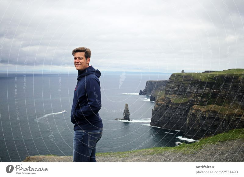 <3 Vacation & Travel Tourism Trip Far-off places Summer Ocean Waves Ireland Cliffs of Moher Masculine Man Adults Partner Life Body Face 1 Human being