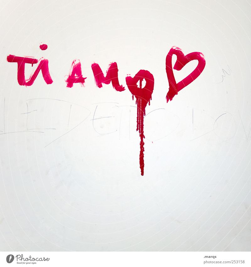 Ti Amo Lifestyle Wall (barrier) Wall (building) Sign Characters Graffiti Heart Kitsch Red White Emotions Passion Infatuation Romance Lovesickness Colour Italian