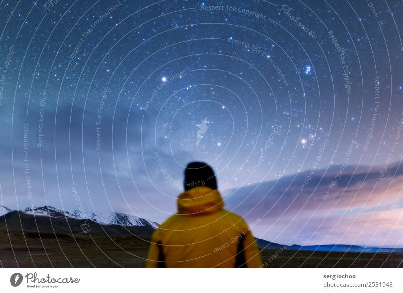 stargazing Human being Youth (Young adults) Young man Clouds Far-off places Mountain Yellow Autumn Rock Hiking Meditative Back Adventure Beautiful weather Stars