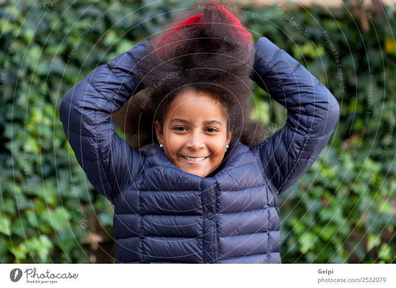 Pretty girl with long afro hair Woman Child Human being Blue Beautiful Colour Winter Black Face Adults Happy Garden Park Vantage point Infancy Smiling
