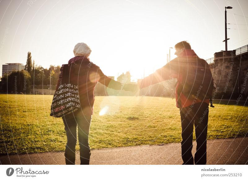 Human being Youth (Young adults) Vacation & Travel Joy Adults Love Life Happy Couple Friendship Together Masculine Safety 18 - 30 years To hold on Young woman