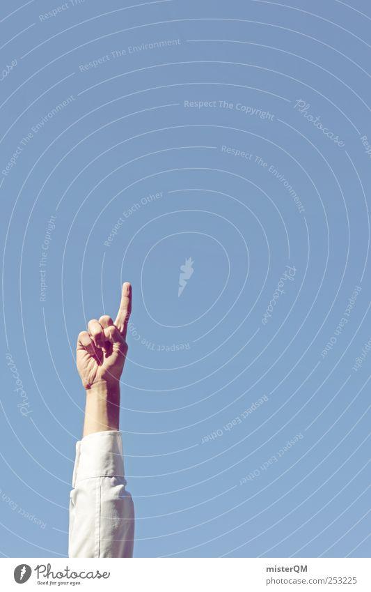 Up. Art Bizarre Fingers Arm Economic growth Tall Upward Heaven Blue Blue sky Economic cycle Success Prospect of success Career Profession Business Direction