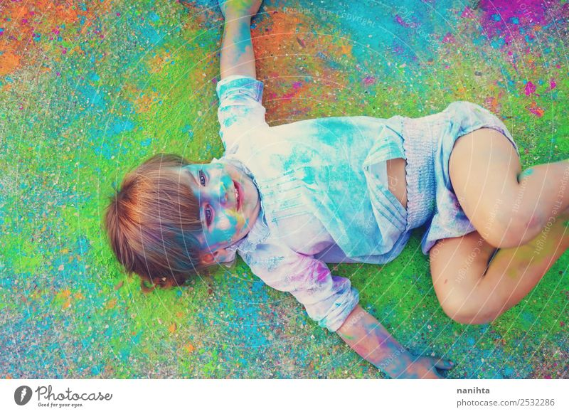 Little girl surrounded by colors Child Human being Beautiful Joy Girl Lifestyle Funny Feminine Art Design Leisure and hobbies Free Lie Fresh Blonde Infancy