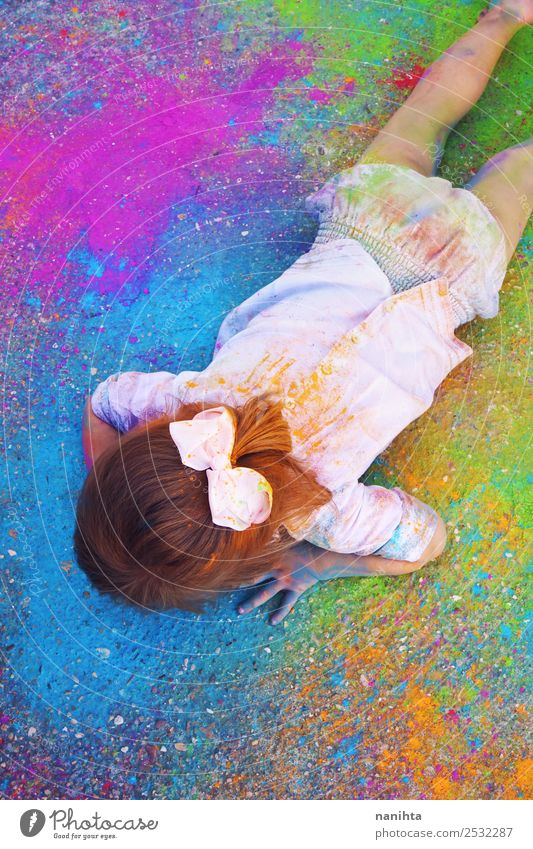 Little girl surrounded by colored paint dust Child Human being Beautiful Girl Funny Feminine Style Art Design Leisure and hobbies Free Dream Dirty Lie Fresh