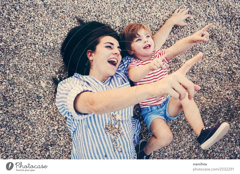 Mother and daughter having fun together Lifestyle Wellness Well-being Leisure and hobbies Parenting Education Human being Feminine Child Toddler Girl Woman