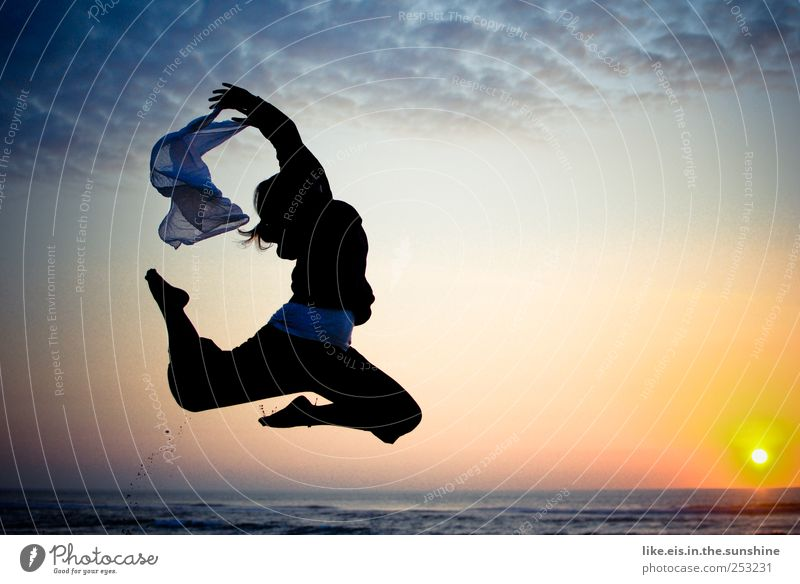 Human being Woman Vacation & Travel Ocean Beach Joy Adults Life Movement Happy Jump Contentment Dance Success Beautiful weather Joie de vivre (Vitality)