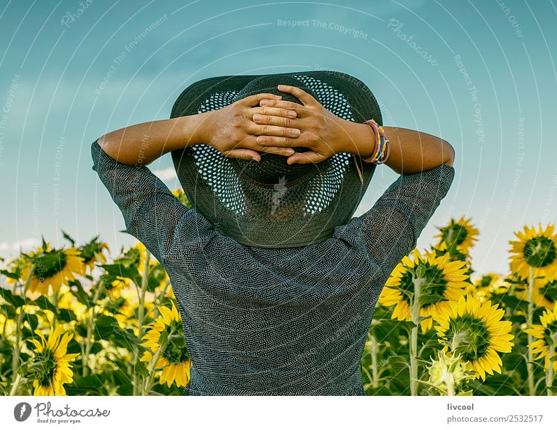 woman in sunflower field II Woman Human being Beautiful Landscape Clouds Leaf Calm Lifestyle Adults Yellow Feminine Emotions Happy Tourism Body Open