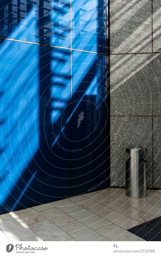 blue wall Beautiful weather Deserted Shopping malls Wall (barrier) Wall (building) Trash container Wastepaper basket Metal Esthetic Blue Shaft of light