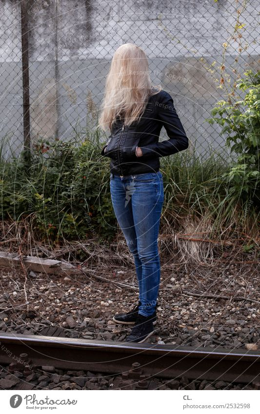 blondie Human being Feminine Young woman Youth (Young adults) Woman Adults Life 1 18 - 30 years Bushes Rail transport Railroad tracks Fashion Pants Jeans Jacket