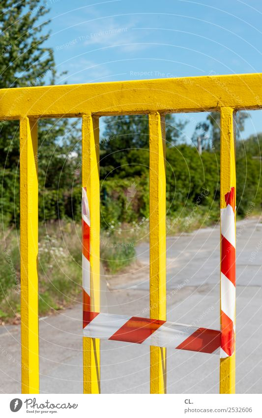 yellow gate Construction site Cloudless sky Beautiful weather Bushes Deserted Places Gate Sign Yellow Protection Safety Bans Change Lanes & trails Barrier