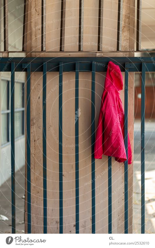 hanging jacket School School building Schoolyard Deserted Wall (barrier) Wall (building) Fashion Clothing Jacket Hooded jacket Hooded (clothing) Grating Fence
