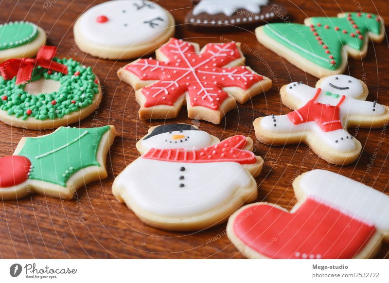 christmas cookies. Christmas concept. Dessert Winter Decoration Feasts & Celebrations Christmas & Advent Wood Ornament Delicious Red Tradition food Gingerbread