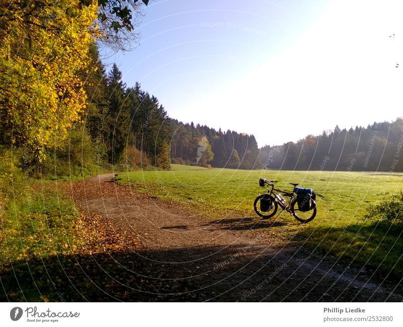 Bicycle touring in autumn valley Leisure and hobbies Vacation & Travel Tourism Trip Adventure Far-off places Freedom Camping Cycling tour Summer Summer vacation