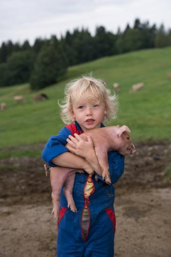 Child Human being Animal Girl Baby animal Friendship Infancy Agriculture Attachment Toddler Embrace Forestry Swine Farm animal Love of animals 3 - 8 years