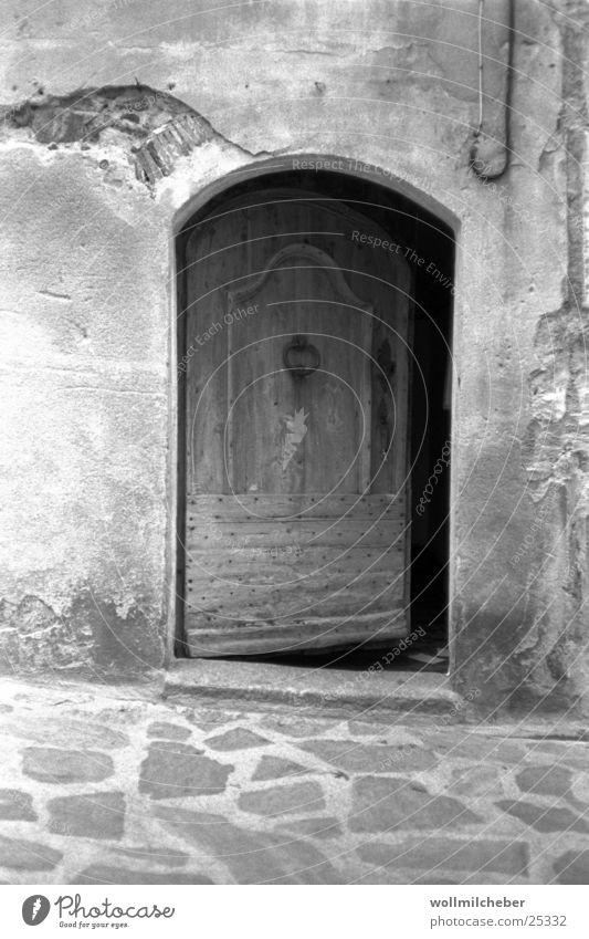 inquisitiveness Wood Masonry Wooden door Architecture Door Black & white photo gray gradient Old
