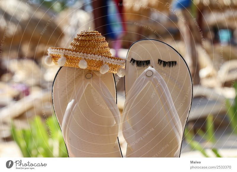sandals Beach Coast Fashion Salto Fiasco Footwear Vacation & Travel Ocean In pairs Sand Sandal Summer Sun Travel photography Tropical Water Waves White Sombrero