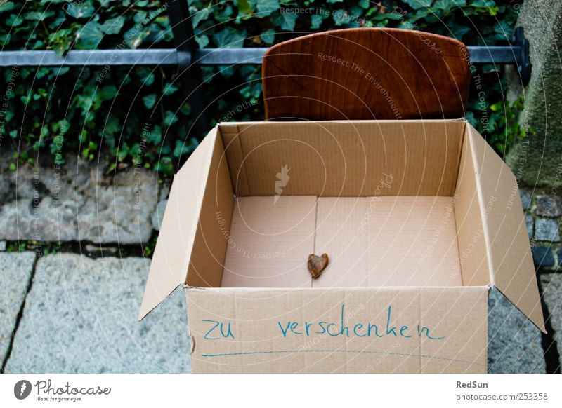 Help yourself! Box Stone Sign Heart Infatuation Love Gift Donate Cardboard Chair Cardboard box Grasp Colour photo Multicoloured Exterior shot Deserted