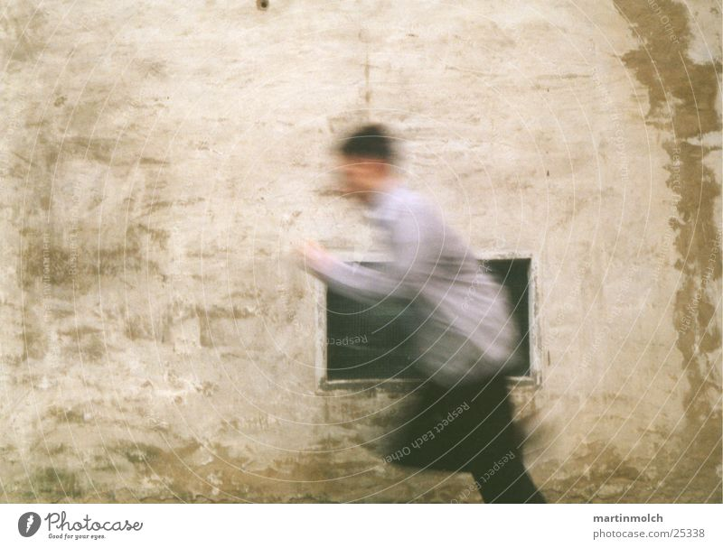Man Window Wall (building) Boy (child) Movement Speed Runner Photographic technology