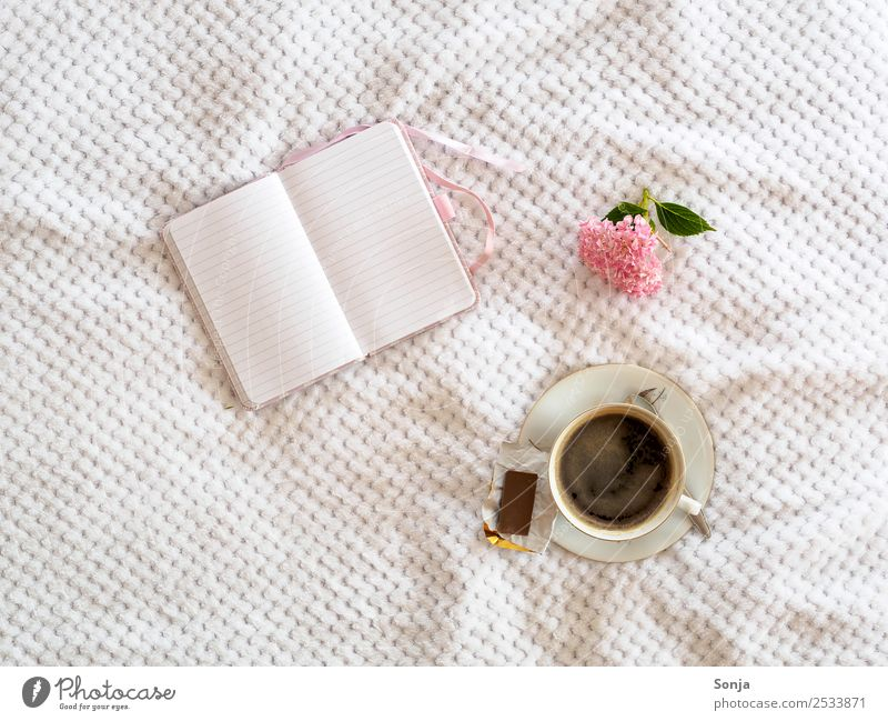coffee, cup, notebook, flower Breakfast To have a coffee Beverage Hot drink Coffee Crockery Cup Lifestyle Leisure and hobbies Living or residing Stationery