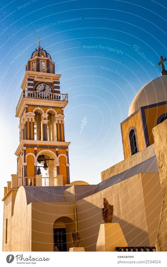 Amazing catholic cathedral in Thira, Santorini, Greece. Vacation & Travel Tourism Summer Island Clock Sky Village Town Church Dome Building Architecture