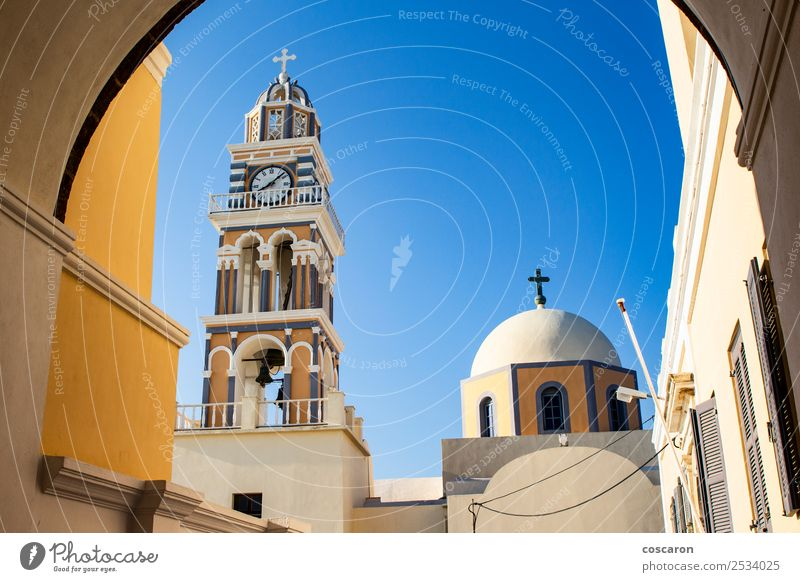 Amazing catholic cathedral in Thira, Santorini, Greece. Vacation & Travel Tourism Summer Island Clock Sky Village Church Dome Architecture Blue White