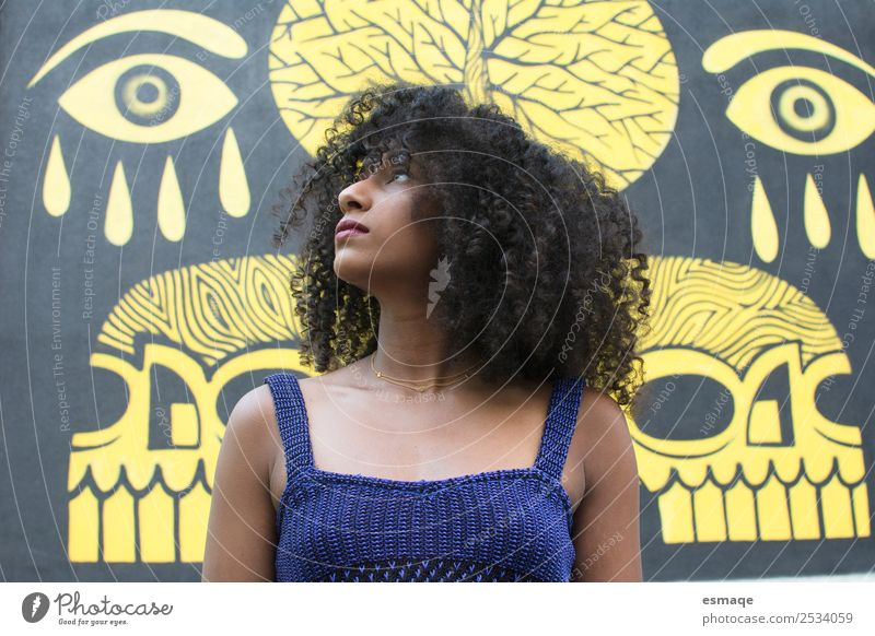 portrait of young woman with graffiti Lifestyle Exotic Young woman Youth (Young adults) Small Town Afro Graffiti Observe Advice Cool (slang) Authentic Beautiful