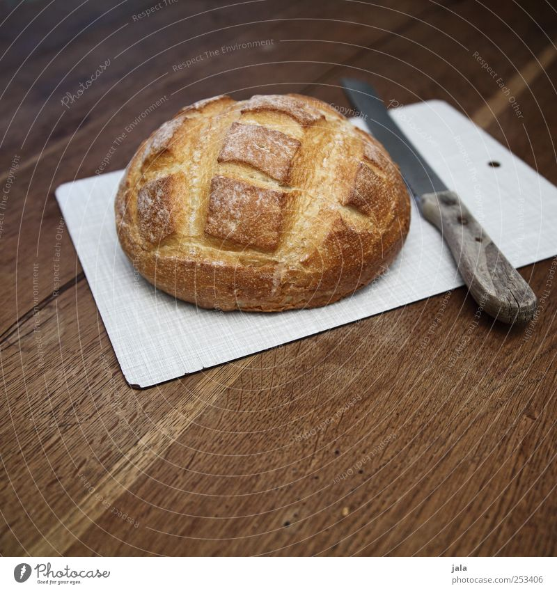 bread Food Bread Nutrition Breakfast Dinner Organic produce Vegetarian diet Knives Chopping board Delicious Brown Appetite Colour photo Interior shot Deserted