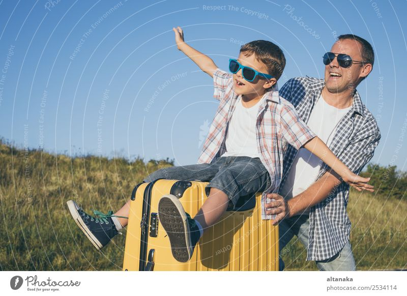 Father and son standing on the road at the day time. Child Human being Vacation & Travel Man Summer Joy Street Lifestyle Adults Sports Family & Relations Happy