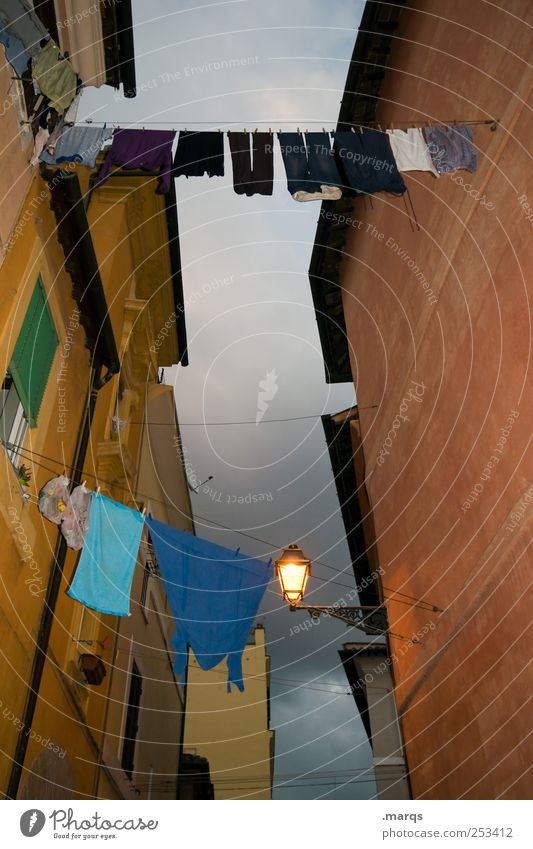 Tumble dryer, dramatic Lantern Sky Rome Italy House (Residential Structure) Architecture Wall (barrier) Wall (building) Facade Clothing Hang Illuminate Old Dark