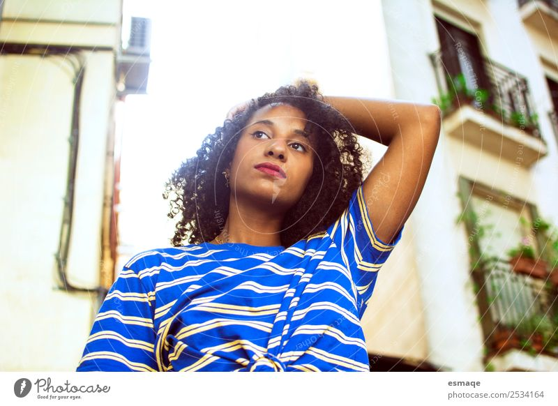 Portrait of Young woman in street Lifestyle Exotic Joy Beautiful Wellness Human being Youth (Young adults) Fashion Afro Observe Advice Cool (slang) Happiness