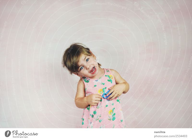 Funny little girl singing a song Child Human being Beautiful Joy Girl Lifestyle Feminine Laughter Style Pink Design Fresh Blonde Infancy Smiling