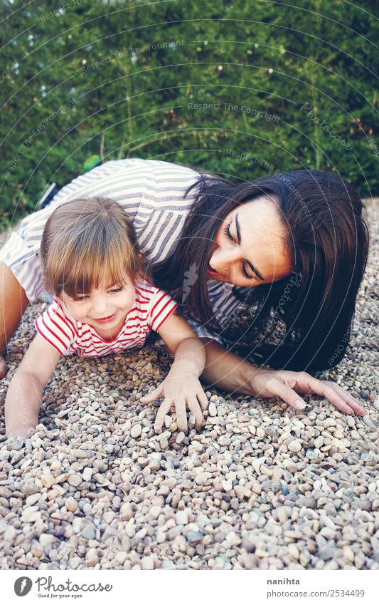 Mom and daughter playing in the park Lifestyle Style Joy Wellness Harmonious Well-being Leisure and hobbies Children's game Freedom Human being Feminine Toddler