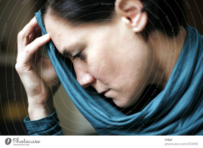 Woman Blue Face Feminine Life Emotions Adults Think Sadness Fear Grief Pain Stress Distress Concern Lovesickness