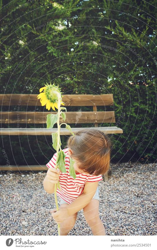 Little girl hold a sunflower Lifestyle Wellness Harmonious Leisure and hobbies Human being Feminine Child Toddler Girl Infancy 1 1 - 3 years Environment Nature