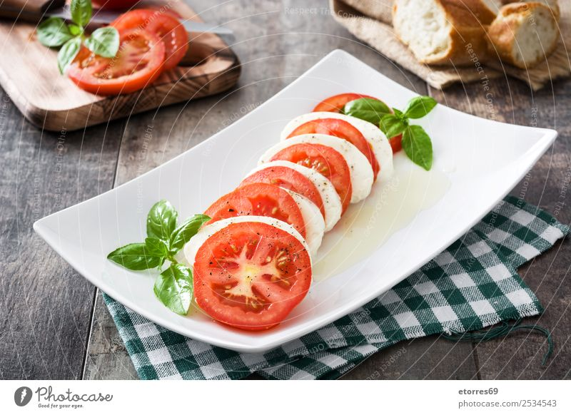 Caprese salad with mozzarella cheese, tomatoes and basil Salad Vegetable Tomato Basil Cheese Italian Meal Green Mozzarella Red Healthy Healthy Eating